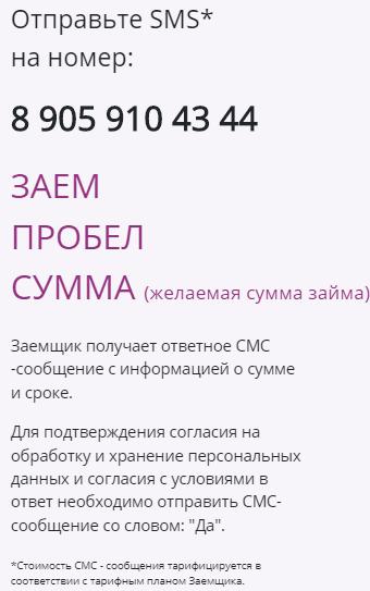 Оформление займ в Финтерра через SMS